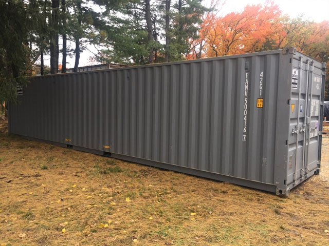 40 foot steel container delivered to yard