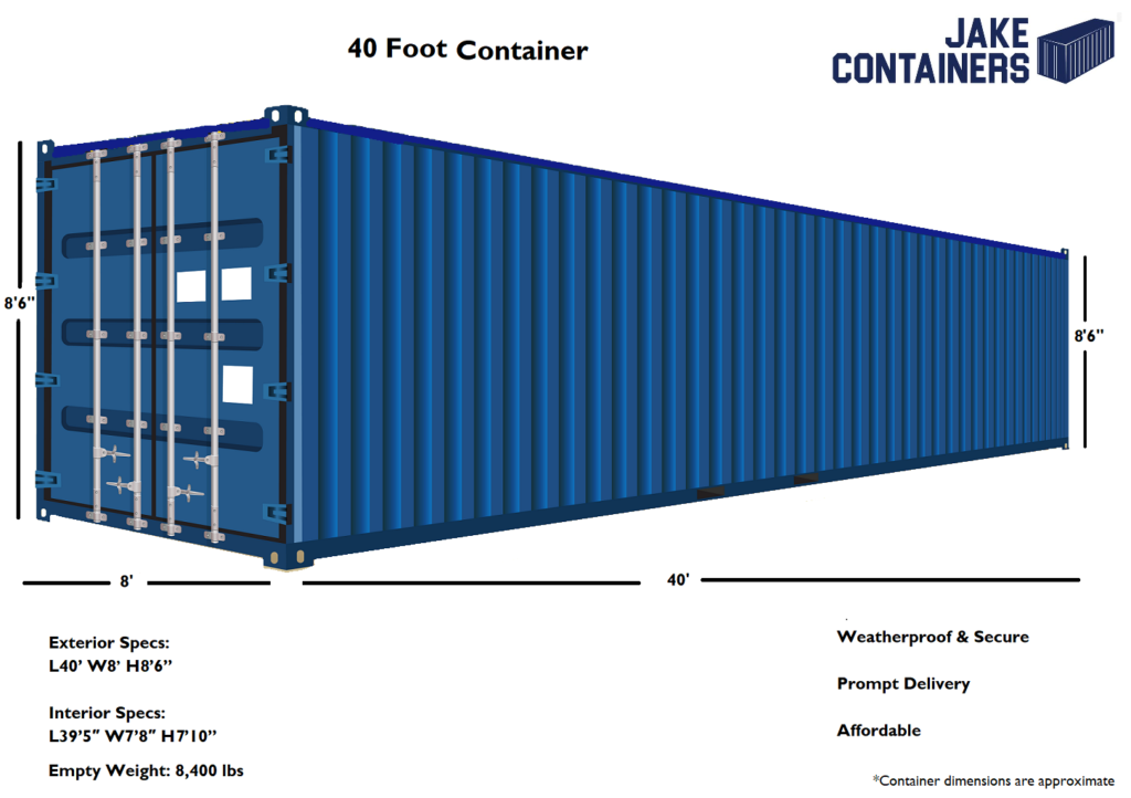40 foot container dimensions
